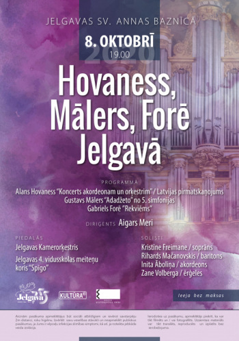 Jelgavas Kamerorķestris koncertā ''Hovaness, Mālers, Forē Jelgavā''